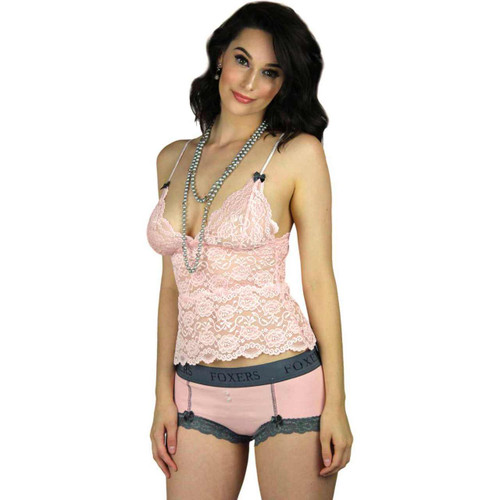 Waist Length Pink Lace Top & Pink Boyshorts