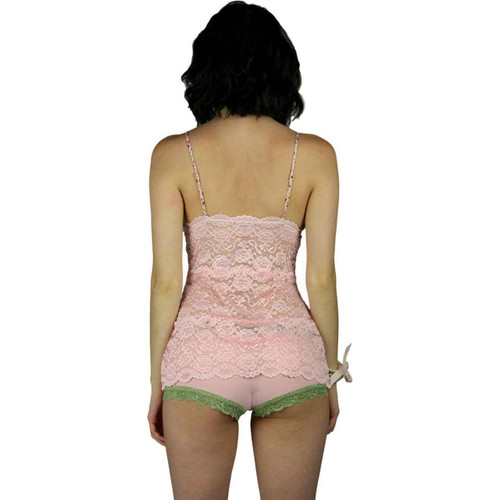 Hip Length Pink Lace Negligee