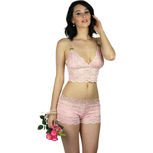 Pink lace boxers with matching Pink lace bralette