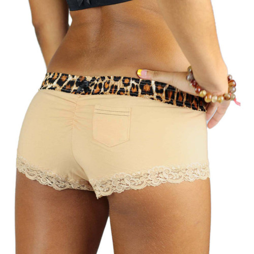 Sand Boyshorts Panties with Leopard Print Waistband