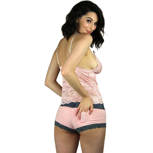 Pink Cotton Boyshort Panties | Foxers Logo Waistband