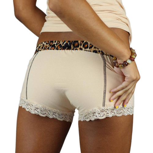 Nude Boxer Briefs with a Leopard Print Waistband