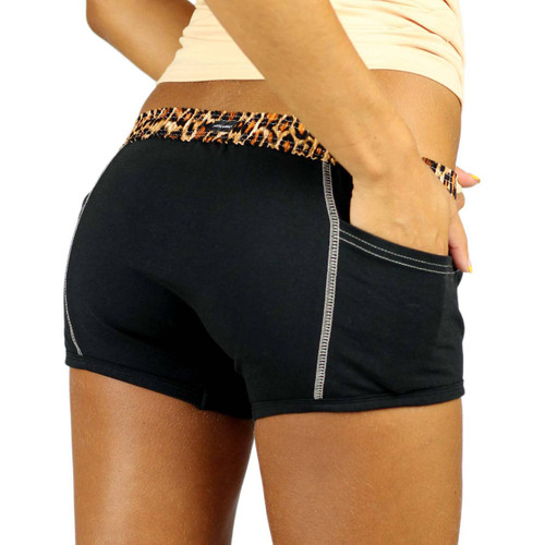 Leopard Print / Black Boxer Briefs For Girls