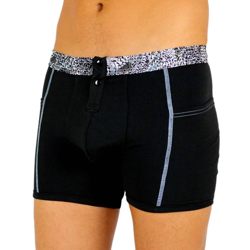Men's Black Boxer Brief with FOXERS Gathered Waistband