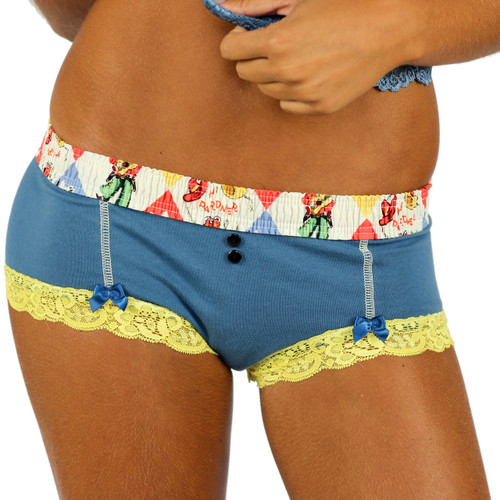 Blue Grey Boyshorts with Cowboy Waist