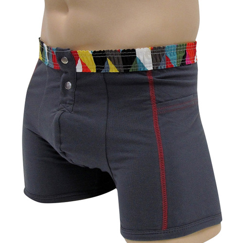 Men's Charcoal Gray Boxer Brief Kaleidoscope FOXERS Band