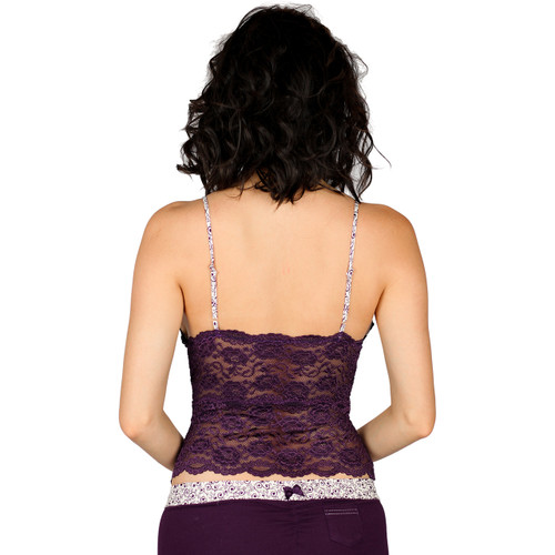 Waist Length Plum Lace Camisole with Adjustable Straps