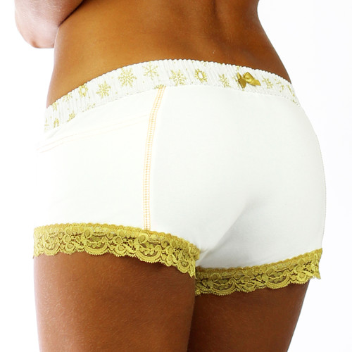 White Boxer Brief with Gold Snowflake Band