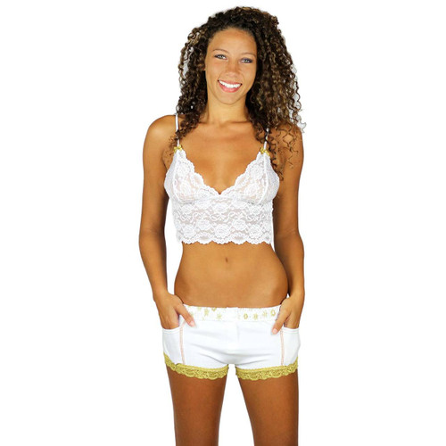 Sexy White Lace Camisole to pair with our White Cotton Boxer Briefs for Women.