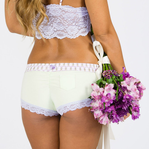 Mint Green Boyshort Hipsters with English Lavender Floral Paisley Waistband