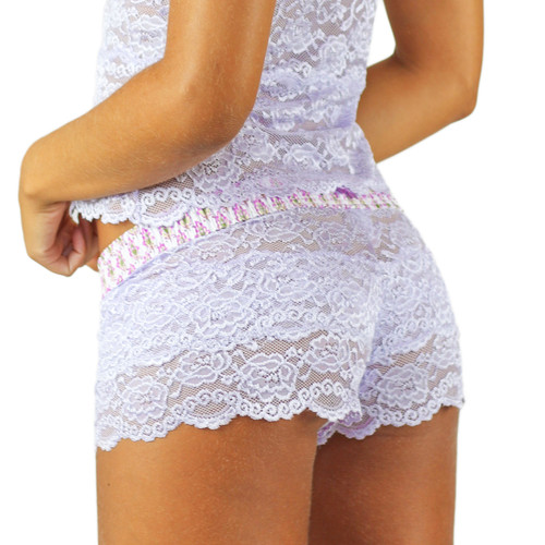 Lavender Lace Boxers for Women