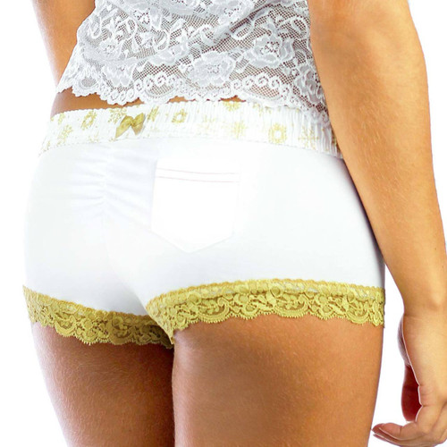 White Boyshorts Panties | Frozen Gold Waistband