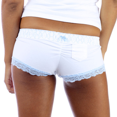 White Boyshort Underwear with a Small Lipstick Pocket