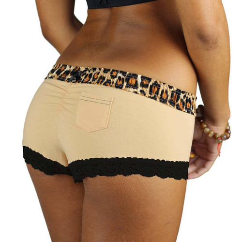 Leopard Print Waistband on our Sahara Sand Boy shorts