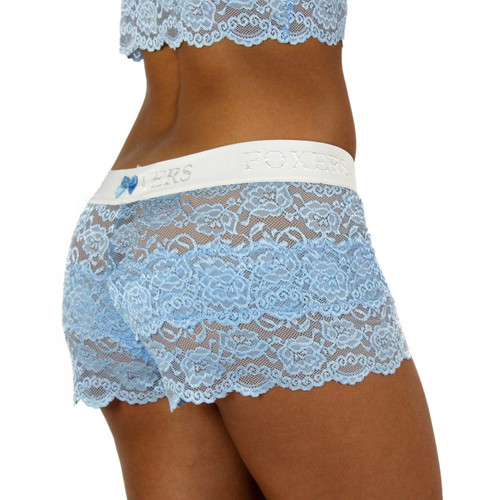 Light Blue Lace Boxers with FOXERS Logo Band