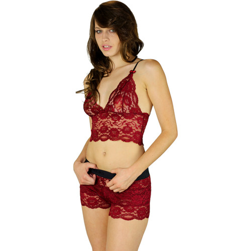 Black Cherry Lace Bralette with Black Adjustable Straps | Foxers