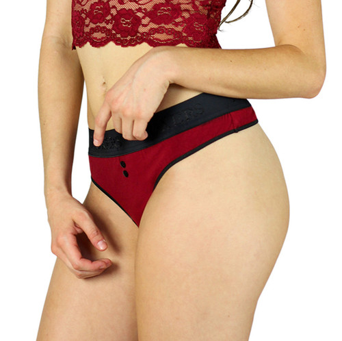 Black Cherry Sexy Cotton Thong by FOXERS