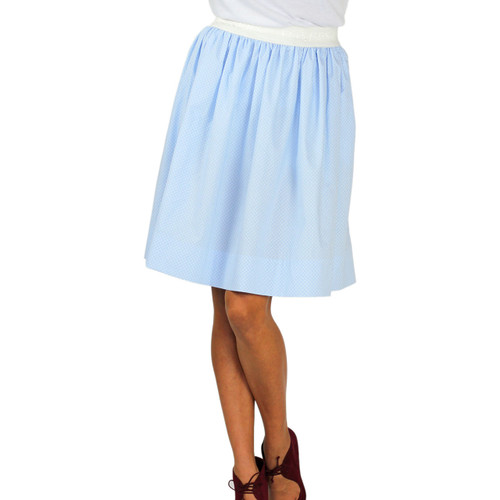 Women's Light Blue Dot Cotton Skirt