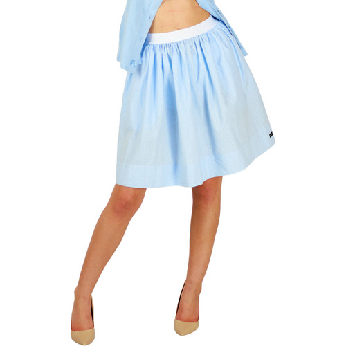 Light Blue Polka Dot Skirt With Pockets