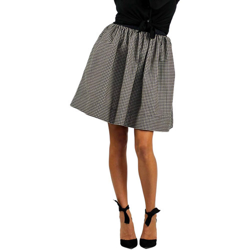 Black & White Checkered Plaid Flannel Skirt With Pockets