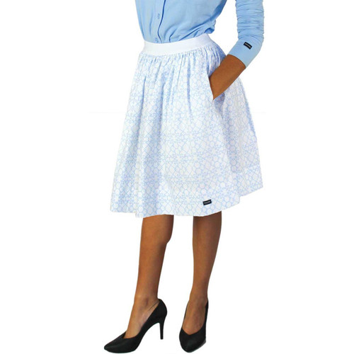 Beautiful Bridal Light Blue Trellis Skirt With Pockets