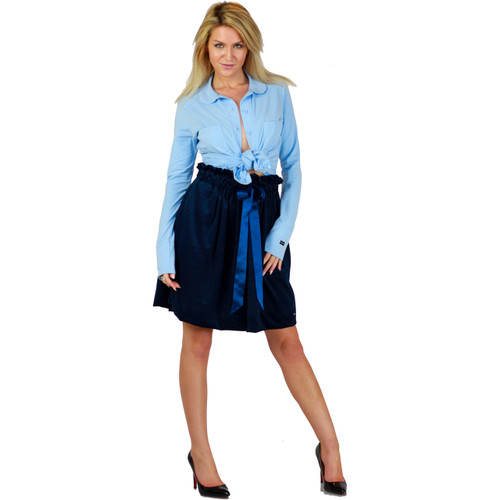 Soft Velour Dark Blue Skirt With Pockets (FXSKT-145)