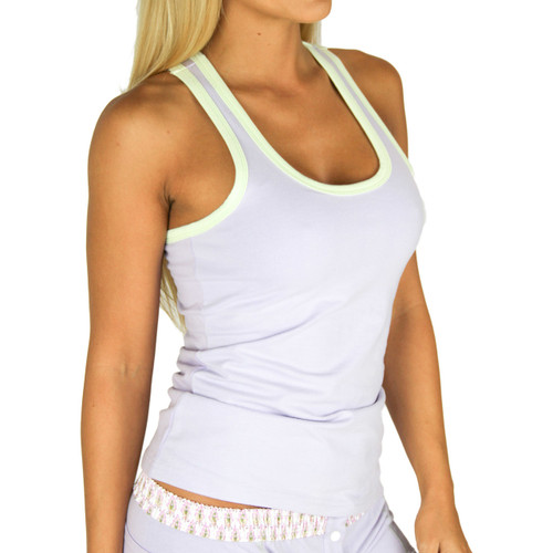 Lavender Tank Top with Green Trim