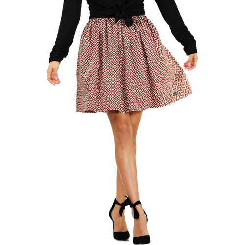 Red & Black Geometric Diamond Print Skirt With Pockets (FXSKT-151)