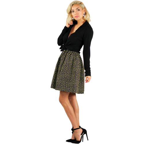 Black & Yellow Polka Dot Print Skirt With Pockets