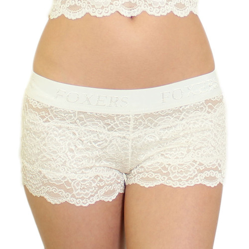 Women's Ivory Lace Boxers Blue bow FOXERS Logo Band
