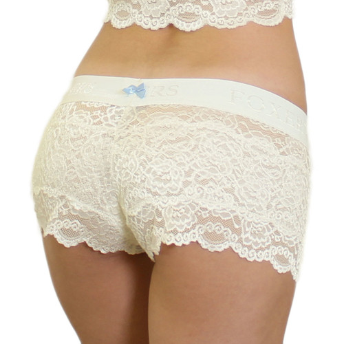 US Made Ivory Lace Boxers w/ Ivory FOXERS Logo Band