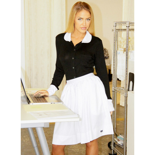 Stylish White Cotton Skirt and Collared Blouse