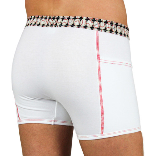 Men's White Baseball Boxer Briefs
