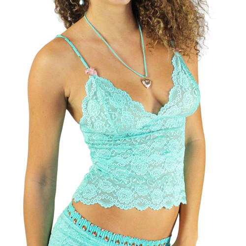 Waist Length Lace Camisole | Turquoise/Hedgehog (FXLAC2-67140)