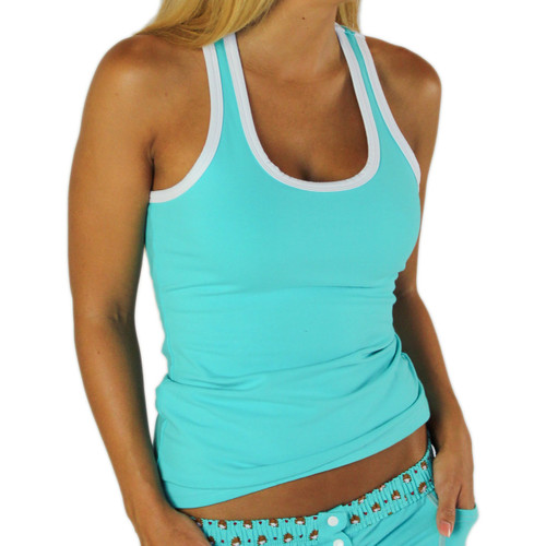 Turquoise Racerback Tank Top with White Trim