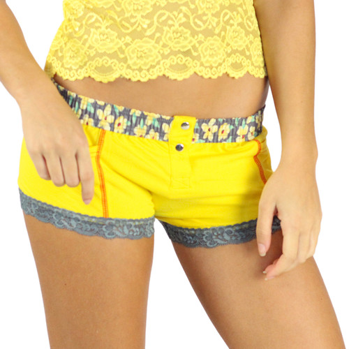Sunshine Yellow Boxers Briefs | Posies Print Band