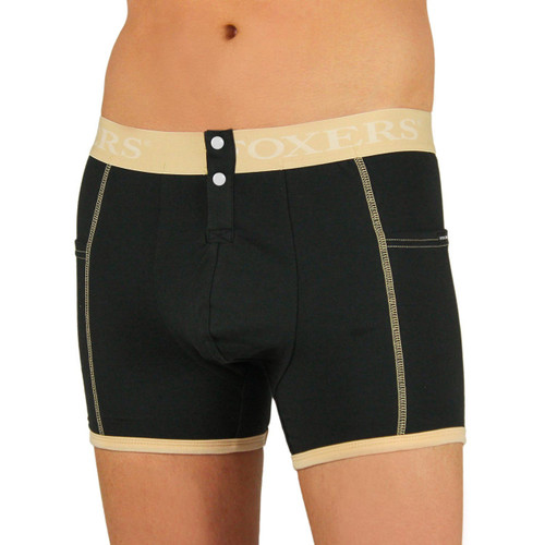 Men's Black Boxer Brief | FOXERS Nude Logo Band