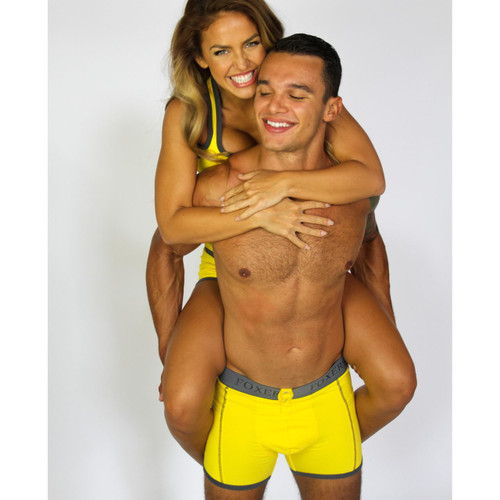 Men's Bright Yellow Boxer Briefs with Foxers Logo Band