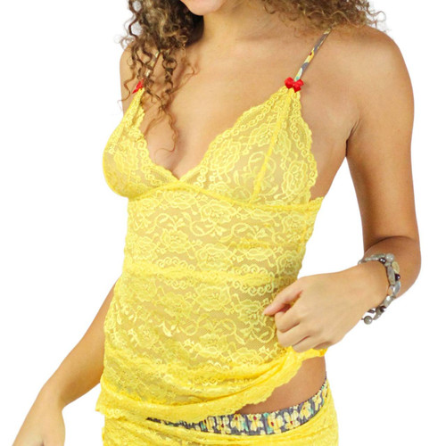 Bright Yellow Lace Camisole Top with printed adjustable straps detailed with red satin bows
