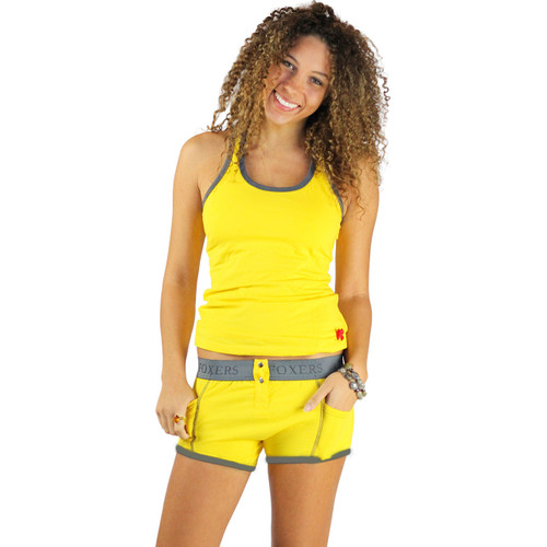 Bright Yellow Racerback Tank Top with Gray Trim