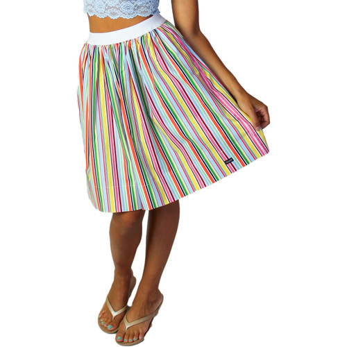 Rainbow Striped Skirt With Pockets