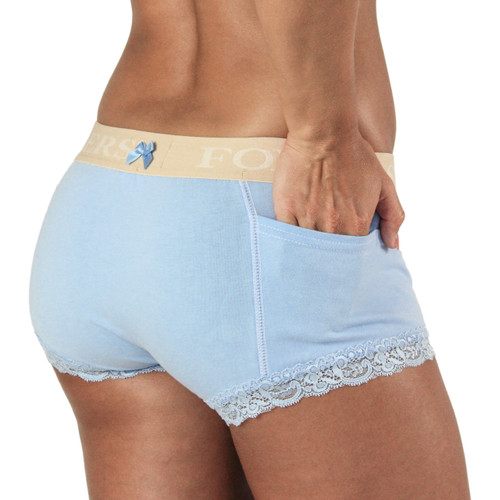 Light Blue Boxer Brief with Nude FOXERS Logo Band