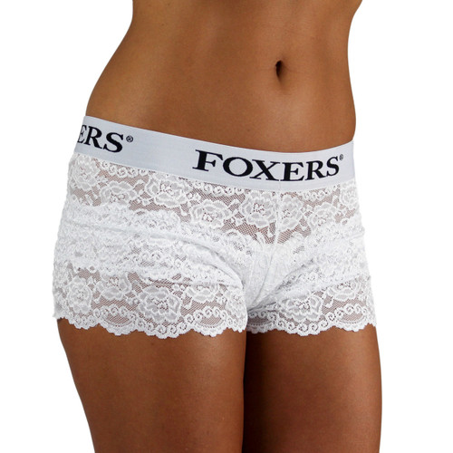Women's White Lace Boxers with FOXERS logo band