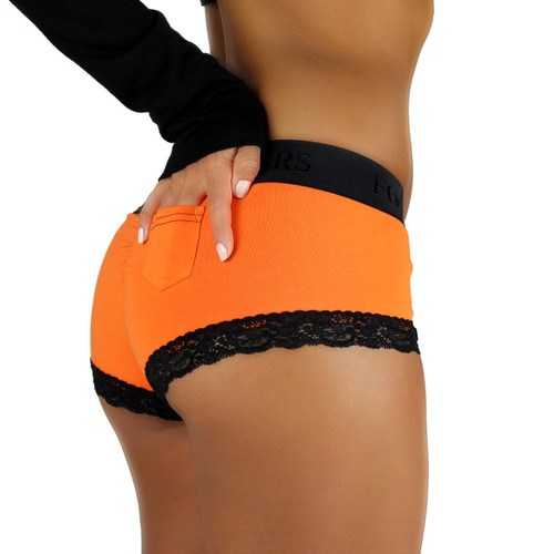 Orange Boyshorts with Black Logo FOXERS Band