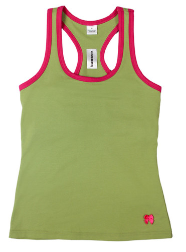 Sage Racerback Tank Top with Fuchsia Trim