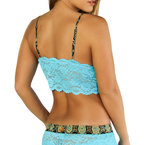 Turquoise Lace Cami Top with Medallion Adjustable Straps