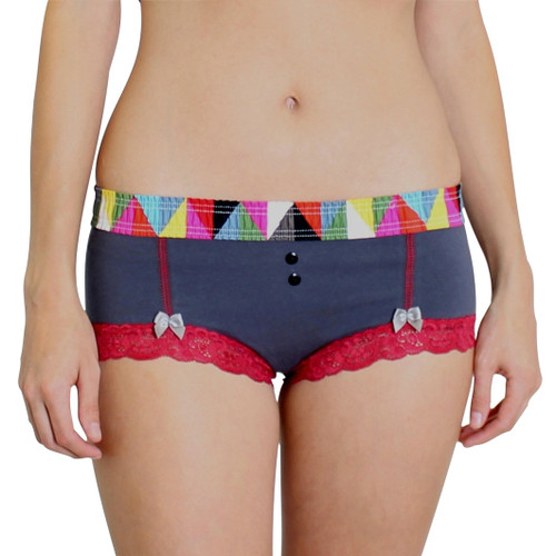 Charcoal Gray Boyshorts Kaleidoscope FOXERS Band