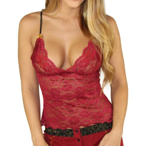 Cranberry Lace Waist Length Camisole Chemise