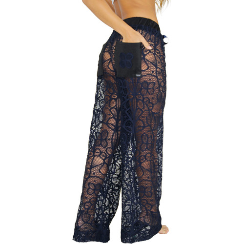 Navy Blue Lace Swimwear Cover-Up Pants