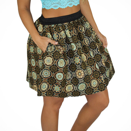 Medallion Mini Skirt With Pockets